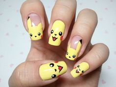 Cool Pokemon Nails Design, cool nail designs you can do yourself, glitter fade nail ~ Cool Nail Art Ideas Crazy Nail Art, Crazy Nails, Cool Nail Art, Cute Nails, Pretty Nails, Fancy Nails, Pikachu Nails, Pikachu Pikachu, Hair And Nails