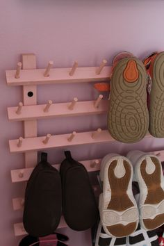 Create easy baby shoe storage with a thread holder from Walmart for just $9.99 child room, storage solutions, shoe collection, closet doors, kid shoes, coat racks, shoe storage, shoe racks, baby shoes