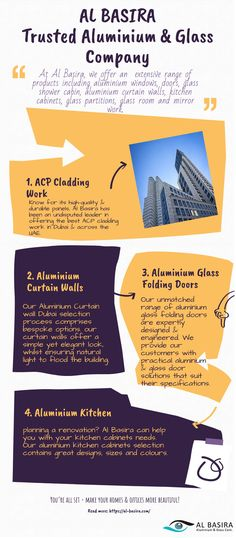 Looking for a trusted aluminium and glass company? Al Basira is an agency you can count on. Our range of offerings includes aluminium windows, aluminium glass folding doors, aluminium kitchen cabinets, aluminium curtain wall, and ACP cladding work. Read this infographics to know more. Visit our website or give us a call to request a quote!