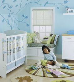 Take a look at our adorable blue baby room. Get more decorating ideas at http://www.CreativeBabyBedding.com