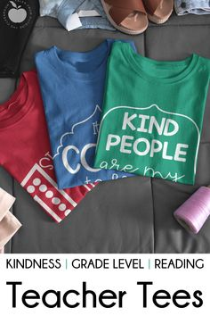 Add to your teacher tee collection with these adorable teacher t-shirts.  There are grade level tees for pre-k through 6th grade.  T-shirts that celebrate a love of reading are included.  Motivational tees and kindness tees are also perfect teacher tees as students will get positive messages with every wear.  This website will be your new favorite for adding to your teacher tee outfit collection.