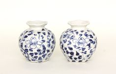 Vintage Blue and White Ceramic Vases Pair by estateeclectic