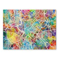 Trademark Art Rome Italy Street Map by Michael Tompsett Graphic Art on Wrapped Canvas Size: Map Canvas, Canvas Prints, Art Prints, Canvas Size, Watercolor Canvas, Abstract Canvas, Watercolor Background, Abstract City, Abstract Print