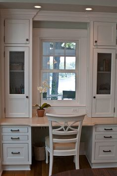 Something like this built-in for desk/calendar area in kitchen next to french doors behind eating table