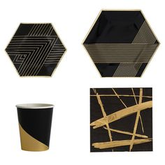 Get Best Price Artlalic 1 Set Disposable Tableware Sets Paper Plate Cups Table Napkins Black Color With Foil Bronzing High Quality Gold Napkins, Party Napkins, Napkins Set, Disposable Tableware, Disposable Cups, Ceramic Tableware, Party Tableware, Ceramic Mugs, Carnival Baby Showers