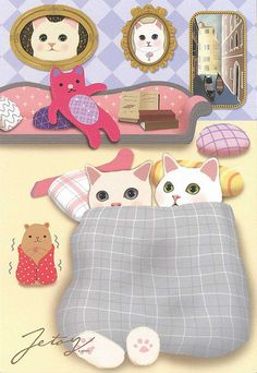 Jetoy Choo choo cat postcard - Couple 3 by PCmarja2006, via Flickr