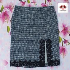 """⭐️HP⭐️TWEED SKIRT WITH LACE Laundry by S.Segal Dark blue skirt with front side slit and black lace trimming. Pencil cut, fully lined. Fabric: 29% Cotton, 27% Polyacrylic, 25% Wool, 11%polyamide,8%polyester. Gorgeous classy design. Excellent for upcoming seasons. Size 0 but refer to the Measurements: Length: 21.5"""", waist: 30"""". Hip: 34"""", slit: 9.5"""". Excellent condition Laundry by Shelli Segal Skirts Pencil"""