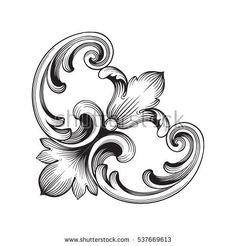 Baroque Frame, Motif Baroque, Baroque Design, Filigree Design, Wood Carving Designs, Wood Carving Patterns, Stencil Patterns, Filigrana Tattoo, Sculpture Ornementale