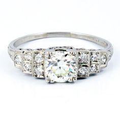 Platinum Antique Edwardian Art Deco European Cut Diamond Ring
