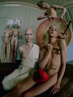 """""""Hieronymus Bosch"""": Anna Cleveland, Anne Lise Maulin, Cierra Skye, Grace Bol, Guinevere Van Seenus, Melanie Gaydos, Yana Dobrolyubova, Connor Newell, Isaac Neal, Jelle Haen, Kesse Donkor, Maarten Convens, and Sam Collet by Tim Walker for LOVE #16 Spring/Summer 2016 Tim Walker shot this great editorial inspired by the Flemish artist Hieronymus Bosch's Garden of Earthly Delights (see it at the bottom of this page), and in honor of the 500th anniversary of Bosch's death."""