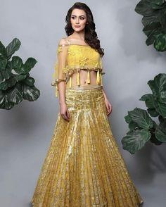 Allover Yellow Wedding Lehenga With Tassel Choli