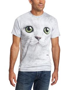 The Mountain Men's Green Eyes Face T-shirt  Light Gray  Large