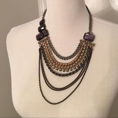 Necklace, purple black bronze, grey Costume necklace, great condition , like new , never worn. Please No trades , holds or modeling. Items are priced to sell however reasonable offers will be considered when submitted using the blue ' offer' button. Jewelry Necklaces