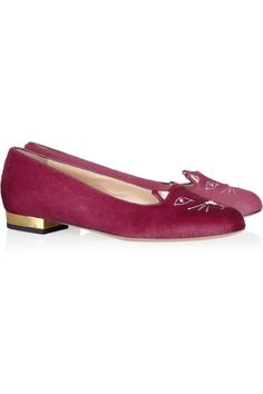 Charlotte Olympia | Kitty embroidered calf hair loafers | NET-A-PORTER.COM