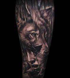 tatouage avant bras, dessin entier en encre, tatouage à motifs femme loup modè. Tattoo Girls, Girls With Sleeve Tattoos, Full Sleeve Tattoos, Wolf Sleeve, Wolf Tattoo Sleeve, Tattoo Arm, Inspiration Tattoos, Head Tattoos, Body Art Tattoos