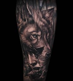 Wolf girl morph thing! Cheers Jamie! #frontyardtattoo #blackandgrey #inkjecta #tattooapprentice #wolftattoo #morph