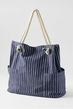 Lands' End Women's Pattern Rope Handle Tote Bag