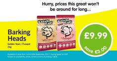 Save £3! Barking Heads Golden Years / Fusspot 2kg Just £9.99 www.animalworlduk.co.uk