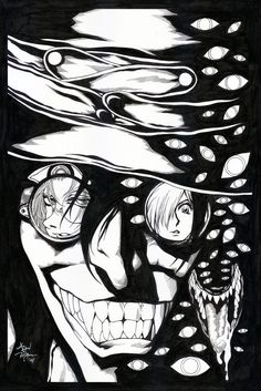 "Hellsing Fanart Poster Inks Artwork paper size 12"" x 18"" Diamond White Laser Board inked with graphic pen, black inks with brush and some minor white inks for correction."