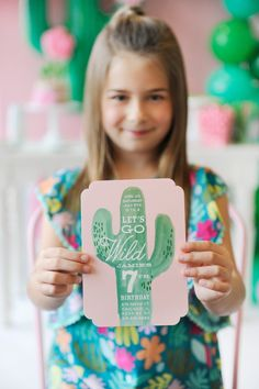 Get sharp and wild with these light pink and green cactus birthday party invitations by Minted. Cactus Party styling by Happy Wish Company. Photography by Tammy Hughes Photography. Stationery by Minted artist, Baumbirdy.
