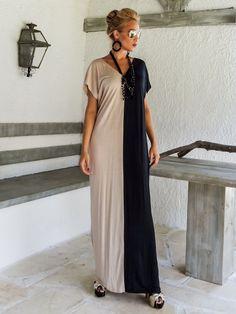Black & Beige Colorblock Maxi Dress / Black & Beige Kaftan / Asymmetric Plus Size Dress / Oversize Loose Dress / This elegant, Black Kaftan, Dress Black, Summer Maxi, Summer Dresses, Beige Maxi Dresses, Pink Maxi, Plus Size Maxi, Mode Hijab, The Dress