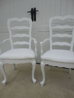 Shabby Chic White French Arm Chair set of 2