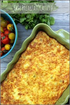 Easy Breakfast Casserole This almost sounds like my mom's Cheesy Chili Rellano puff which is OHH SOOO good. Breakfast Casserole Easy, Breakfast Dishes, Breakfast Time, Best Breakfast, Breakfast Recipes, Breakfast Ideas, Smoothie, Crockpot, Muffins