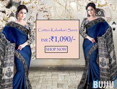 Navy Blue Cotton Kalamkari Saree with Patli Pallu & Blouse Product code: SHSA90K266 Retail price: 1,145/-