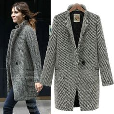 Fashion Mandarin Collar Long Sleeve single breasted Wool Coat_Wool&Blends_Outerwear&Coats_Womens Clothing_Cheap Clothes,Cheap Shoes Online,Wholesale Shoes,Clothing On lovelywholesale.com - LovelyWholesale.com