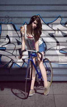 Francis Kmiecik - girl on bike Bicycle Tattoo, Bicycle Art, Bike Tattoos, Art Photography Women, Artistic Photography, Cycling Girls, Cycling Art, Bike Illustration, Bicycle Women