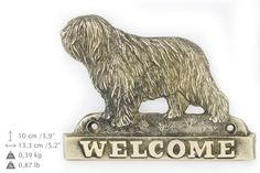 Polish Lowland Sheepdog dog welcome hanging by ArtDogshopcenter Polish Lowland Sheepdog, Lion Sculpture, Statue, Decoration, Dogs, Artist, Crafts, Etsy, Decor