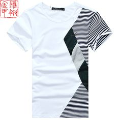 Gold casual color block decoration men's clothing 2013 classic male summer…