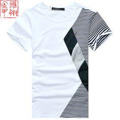 Gold casual color block decoration men's clothing 2013 classic male summer o-neck t-shirt slim T-shirt short-sleeve shirt