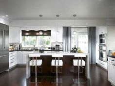 dark hardwood floors with grey and white... love it