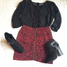 Silence + Noise Tiered Mini Skirt Red leopard print zip front mini skirt.  Worn once and in excellent condition! Urban Outfitters Skirts Mini