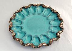 Deviled Egg Plate / Platter in Turquoise - Ceramic Stoneware Pottery
