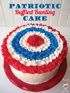 Patriotic Ruffled Bunting Cake Bird On A Cake