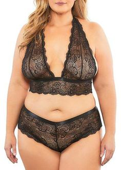 Oh La La Cheri Plus Size Lisette Lace Bra and Panty Set - Womens - Amaranth - Full Figure Bras, Soft Bra, Plus Size Bra, Bra And Panty Sets, Lace Bralette, Fitness Fashion, Style, Plunging Neckline, Gender Female