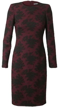 Alexander Mcqueen Layered Crepe Wool and Lace Dress in Purple (burgundy) $4739