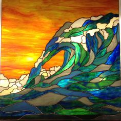 Magnificent Wave at Sunset Stained Glass by ChaosTheoryGlassWork, $745.00