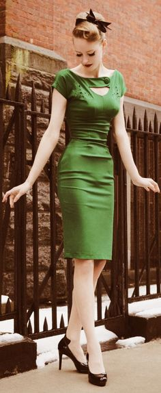 Retro Green Dress. I have never been this skinny ever but I love it