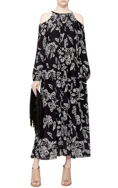 Silk Open Shoulder Maxi Dress by THAKOON ADDITION Now Available on Moda Operandi