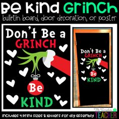 The Grinch Kindness Holiday/Christmas Bulletin Board, Door Decor, or Poster The Grinch Kindness Holiday/Christmas Bulletin. by The Simplistic Teacher Grinch Bulletin Board, December Bulletin Boards, Christmas Bulletin Boards, Winter Bulletin Boards, Christmas Bulliten Board Ideas, Holiday Door Decorations, School Door Decorations, The Grinch, Martha Stewart Weddings