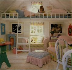 Lovely girl's bedroom with loft bed and sitting area Girls Bedroom, Kid Bedrooms, Bedroom Ideas, Bedroom Decor, Childs Bedroom, Bed Nook, Deco Kids, Little Girl Rooms, Dream Rooms