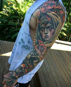 The best Neo traditional tattoo Tattoo Sleeve Filler, Full Sleeve Tattoos, Cover Up Tattoos, Body Art Tattoos, Tattoo Drawings, Cool Tattoos, Tattoo Sleeves, Monster Tattoo, Tattoo Designs