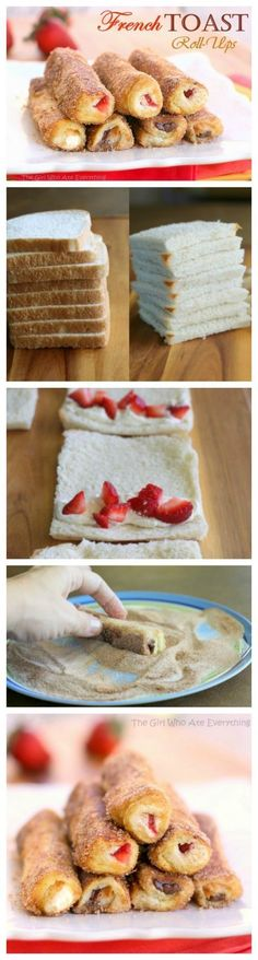 French Toast Roll-Ups - cream cheese, fruit, or whatever fillings you like rolled up in cinnamon sugar bread. http://the-girl-who-ate-everything.com