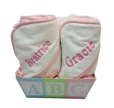TWO PERSONALISED NEWBORN NEW BABY TOWELS FOR TWINS GIFT