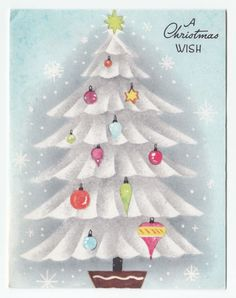 Vintage Greeting Card Christmas Tree Decorated Glass Colorful Ornaments Retro