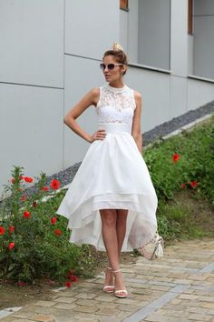 Romantic Delicate High Low Lace Top Assymetrical Mock Neck Dress
