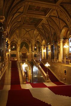 The Hungarian Parliament looked like an opulent castle inside with red velvet carpets and gold.